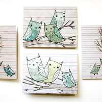 Drawn Owl Cards (Set of 4)