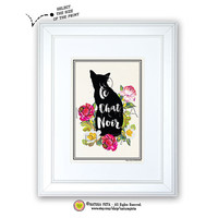 Le chat noir quote print-Cat art print-Venice seaweed paper-Typography quote print-Chat print-Nursery print-cat art-by NATURA PICTA NPAGQ003