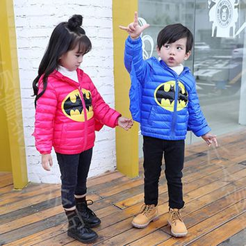 Winter Kids Hooded Jacket Boys Girls Cartoon Batman Outerwear Girls Fly Wings Outerwear D0097