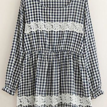Streetstyle  Casual Navy Blue Plaid Lace Long Sleeve Dress