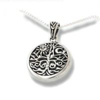 """Celtic Tree of Life Art Symbol with Sun and Moon Sterling Silver Pendant with 18"""" Necklace"""