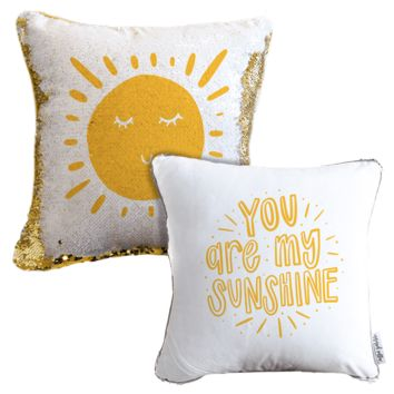 You are My Sunshine Mermaid Pillow w/ Gold & White Sequins | COVER ONLY (Inserts Sold Separately)