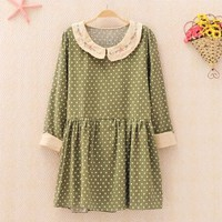 Polka Dots Shirt with Embroidery Collar 1