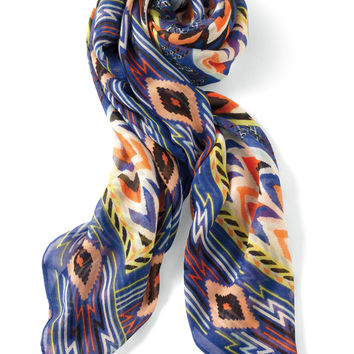 Union Square Scarf - Cobalt/Black Tribal