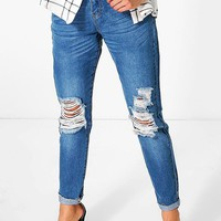 Sophie High Waisted Knee Rip Mom Jeans | Boohoo