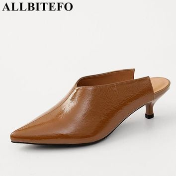 ALLBITEFO 2018 new summer Patent leather pointed toe medium heel women sandals high quality office ladies shoes ladies slippers
