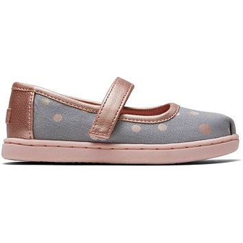 TOMS - Tiny Mary Jane Drizzle Grey Party Dots Flats
