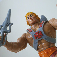 Vintage He Man Action Figure, 1982, Mattel MOTU, with Wind Raider vehicle - retro, for him, toys, fantasy, sci fi