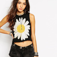 Daisy Flower Print Sleeveless Graphic Cropped Tank