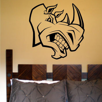 Rhino Head Sticker Wall Decal Animal Bird Art Graphic Rhinos