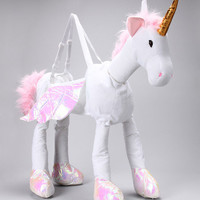 White Ride-On Unicorn Dress-Up Outfit