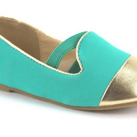 Toddler QQ Girls Gold Cap Toe Elastic Band Ballerina Flats Lovely-605I Mint