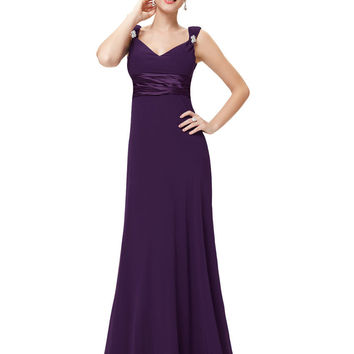 Bridesmaid Dresses HE09601 2016 Ever Pretty New Arrival Sexy Double V-neck Diamantes Long Dress