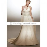 Empire V-neck Halter Top Chapel train Satin wedding dress for brides 2012 Style(WDA1636) [WDA1636] - $171.99 : wedding fashion, wedding dress, bridal dresses, wedding shoes