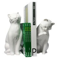 Cement Cats Bookend Set – White