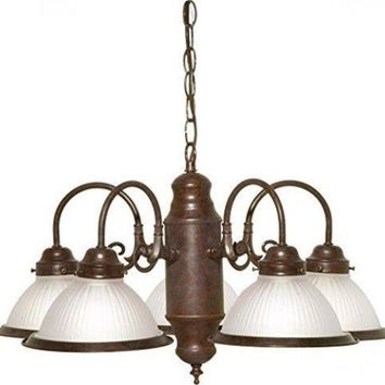 """Nuvo 76-694 - 5-Lights 22"""" Old Bronze Chandelier with Frosted Ribbed Shades"""
