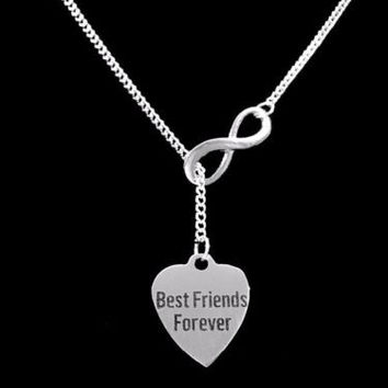 Best Friends Forever Heart Friend Gift BFF Friendship Infinity Lariat Necklace