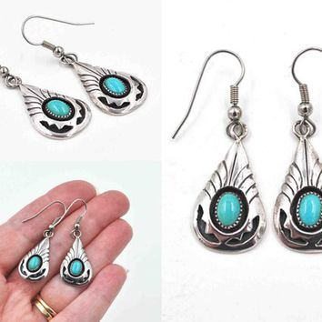 Vintage Navajo Sterling Silver and Turquoise Pierced Earrings, Signed John White, Shadowbox, Teardrop, Dangle, Drop  #c578