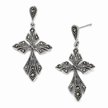 Sterling Silver Marcasite Cross Dangle Post Earrings
