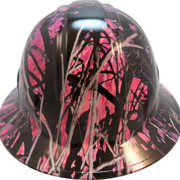 Muddy Girl Pink Hydro Dipped Safety Hats Full Brim Style