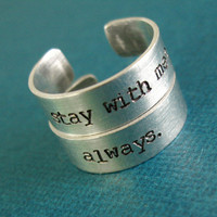Hunger Games Rings- Katniss & Peeta - Pair of Adjustable Aluminum Rings - Stay with me - Always