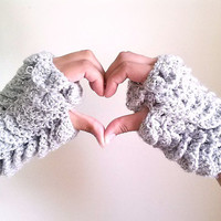 Grey crochet fngerless gloves, White fingerless mittens, Crochet gloves
