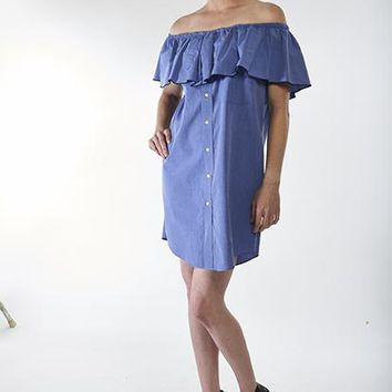 Blue Ruffle Dress, M