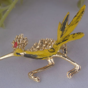 Vintage MARCEL BOUCHER Roadrunner Bird Brooch Pin 8390P Enamel Figural Jewelry