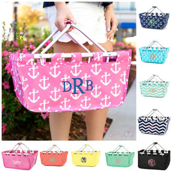 "Monogrammed Basket Large Utility Tote Bag Market 18"" Personalized Name Embroidered Picnic Easter Beach Diaper Baby Caddy Chevron Nautical"