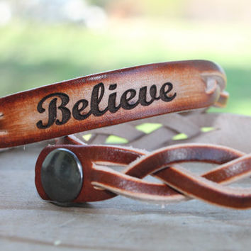 Braided Leather Bracelet (one bracelet)-Engraved with BELIEVE