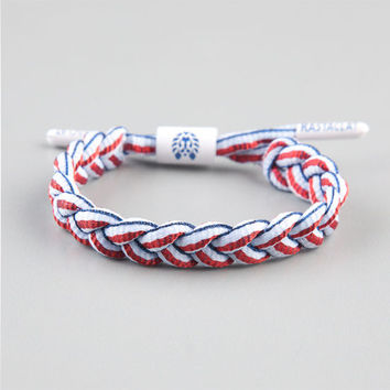 Rastaclat Clips Braided Shoelace Bracelet Red/White/Blue One Size For Men 23874394801