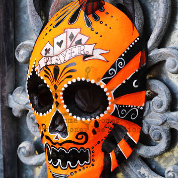 Player Dia De Los Muertos Mask - Orange Neon Sugar Skull Mask - Hand Painted Sugar Skull Mask - Mexican Folk Art - Halloween Mask