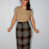 1950s Vintage Wool Pencil Skirt, Plaid Skirt, Fall Skirt Winter Skirt, Gray Black Orange Tweed Skirt, Small XS