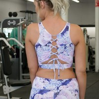 Athletic Sports Bra | Lilac Floral