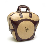 Vintage Bowling sports bag. Cream and warm brown faux leather. Bowling pin and ball illustration on both sides