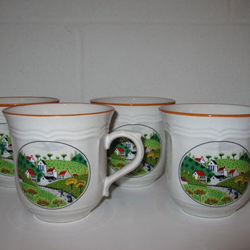 Vintage 60s / 70s Primitive Scene Stoneware Mugs / Newcor Stoneware / Coffee Cups / Set of 4 Mugs
