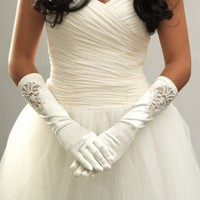 Below-the-Elbow Satin Simulated Pearl Beaded Bridal Gloves in Ivory