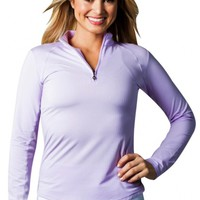 SanSoleil Ladies & Plus Size SolTek Ice Solid Zip Mock Long Sleeve Golf Shirts - Assorted Colors