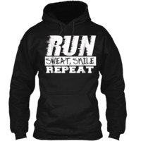 Running Shirt Fitness Motivation Run Sweat Smile Repeat Pullover Hoodie 8 oz