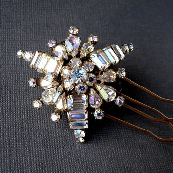 Rhinestone Hair Comb WEISS Jewelry Aurora Borealis Wedding Formal Bridal Accessory AB Crystal Headpiece Vintage Jeweled Headpiece UpCycled