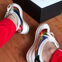 GUCCI Falacer Leather Rainbow Diamond Sneaker