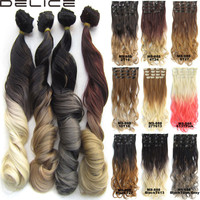 """DELICE 7pcs/set New Style 24""""/100g Clip In Wavy Curly Ombre Hair Extensions Synthetic Hairpieces,BlackTDim Gray, 613TPink,10T16"""