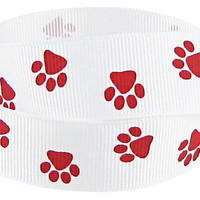 Ribbon, Red Paw prints, 7/8 inch satin ribbon, Offray, Craft supply, trim, DESTASH