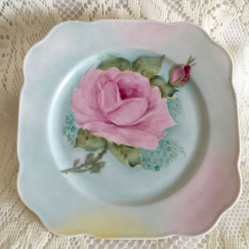 Bavaria Tirschenreuth Germany Square China Lunch Plate Hand Signed V A Ross................https://www.etsy.com/shop/CoCoBlueTreasures