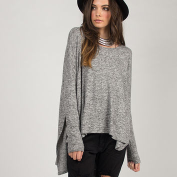 Soft Oversized Long Sleeve Hi Low Top - Large