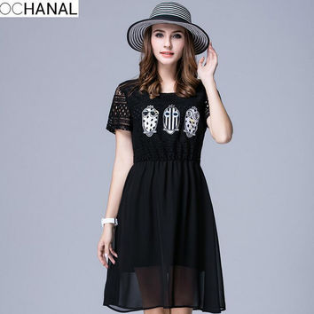 Lace and Chiffon patchwork dress 2016 Summer skull appliques elastic wasit short sleeve dress XL-5XL Plus size women clothing