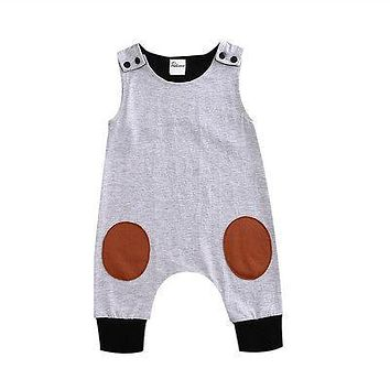 Baby Boy or Girl Patchwork Jumpsuit. Sleeveless Romper