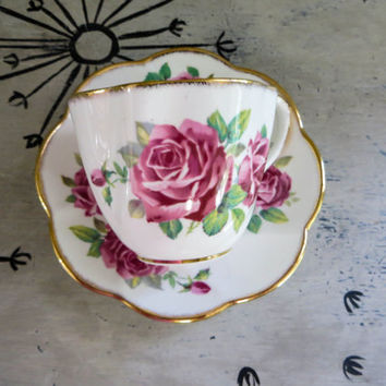 Tea Cup Salisbury Tea Cup Floral Teacup Juliana Rose Bone China Teacup Porcelain Tea Cup Trees Tea Cup Housewarming Gift Vintage Teacup