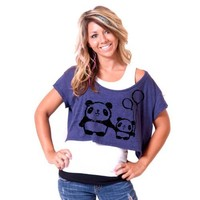 Panda Love American Apparel Crop Tee