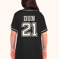 DUN 21 Custom Black Baseball Jersey - Twenty One Pilots - Josh Dun - 21 Pilots - Baseball Tee - Tumblr Shirt - Twenty One Pilots Shirt - TOP